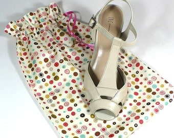 Shoe Bags, Travel, Storage, Dots, Circle, Set of 2, drawstring