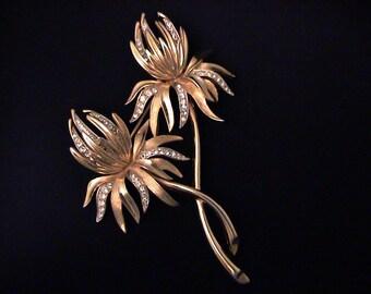 Vintage TRIFARI Rhinestone Thistle Flower Brooch