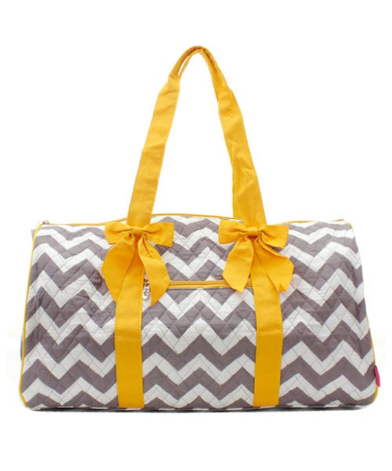 Duggle Bag Grey Chevron Quilted with Yellow Accent with Personalized Embroidery
