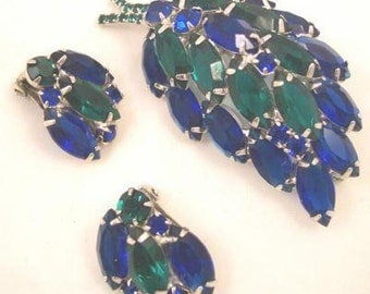 Blue Green Rhinestone Pin and Earrings Vintage Set
