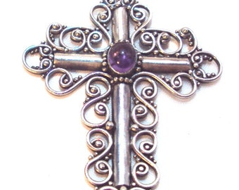 Sterling Silver Scroll Work Amethyst Vintage Cross Pendant