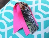 Hot Pink and Mossy Oak Breakup Camo Girls Ponytail Holder