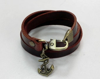 Brown Leather Bracelet Leather Wrap Bracelet with Bronze Metal Anchore Charm