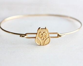 Gold Owl Bracelet