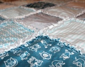 DIY Organic Baby Blanket Kit - Rag Quilt Kit- Baby Boy- Turquoise Blue Gray White - Organic Sateen Cotton- Organic Flannel - Ready to Sew