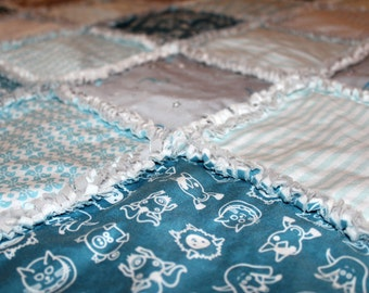 Baby, Boy, Modern,DIY, Organic, Baby, Blanket, Kit, Rag, Quilt, Turquoise, Blue,Gray, White, Organic, Cotton, Flannel, ReadytoSew, EXCLUSIVE
