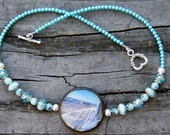 Holidays at the Beach  Decoupage Pendant and Czech Glass and Crystal Necklace