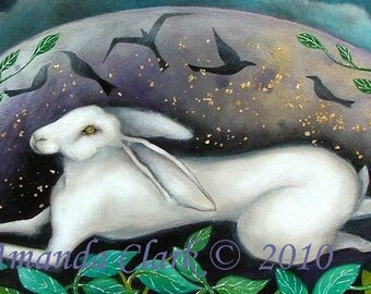 An art print,  'Land of the Hare'. A reproduction from an original painting by Amanda Clark.