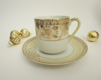 Vintage Chikaramachi Noritake Demitasse Cup & Saucer  - Chikaramachi Hand Painted Bone China Cup and Saucer With Gold Flowers