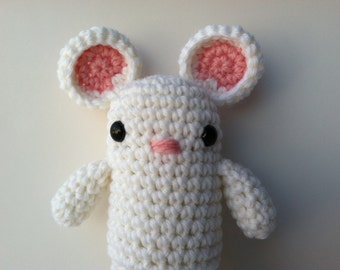 Amigurumi Crochet White Mouse Plush Doll Kawaii Mouse Woodland Mouse Gift Under 25 Stuffed Animal Mouse Plushie Mouse
