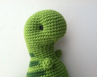 Amigurumi Crochet T-Rex Plush Toy - Apple Green & Pine Green Nursery Decor Gift For Kids T-Rex Plushie Kawaii Dinosaur Toy Gift Under 50