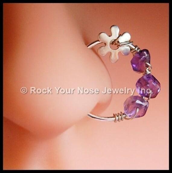 Silver Nose Ring/Beaded Nose Ring/Beaded Nose Hoop-Amethyst Nose Ring/Flower Nose Ring/22G / 20G / 18G - CUSTOMIZE