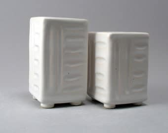 Salt and Pepper Shakers-Porcelain Shakers-Tableware-Pottery-Shakers-Square Shakers-Textured-Hand Built-Classic White Glaze