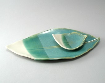 Leaf Plate-Pottery Plate-Ivory-Teal-Stoneware-Serving Plate