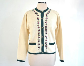 Vintage Embroidered Wool Cardigan Sweater