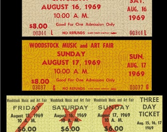 Five 1969 WOODSTOCK unused paper replica concert tickets Collect, Scrapbook,made in the USA