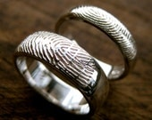 Sterling Silver Finger Print Wedding Rings with Glossy Finish Size 7/6mm & 6/4mm