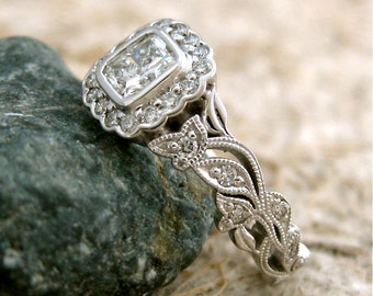 Radiant Cut Diamond Engagement Ring in 14K White Gold with Diamonds in Flowers and Leafs on Vine Floral Motif Size 6