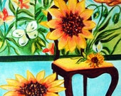 Fine Art Giclee Prints Interiors Chairs Sunflowers from Original Painting Vinnie's Garden - van Gogh by k Madison Moore