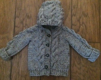 Baby Hooded Cable Knit Sweater Made to Order
