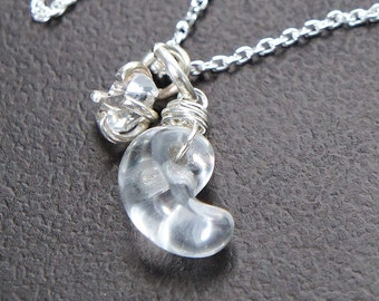 Herkimer Diamond Magatama Silver Necklace, Japanese Lucky Charm Jewelry, Quartz Crystal Pendant, Sterling Silver
