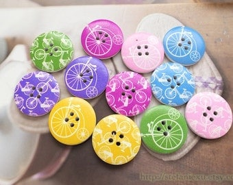 Wooden Buttons - Fashion French Style Geometric Chic Rainbow Color Vintage Retro Bicycles Collection, Random Color Pattern(4 in a set, D3CM)
