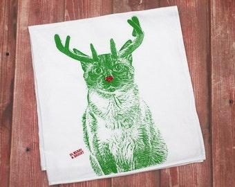 Christmas Cat Tea Towel, Holiday Tea Towel - Hand Printed Flour Sack Tea Towel, Cat Towel, Christmas Cat Towel