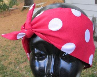 Rosie red polka dot head band hair wrap bandanna 50's rockabilly Lucy Minnie original