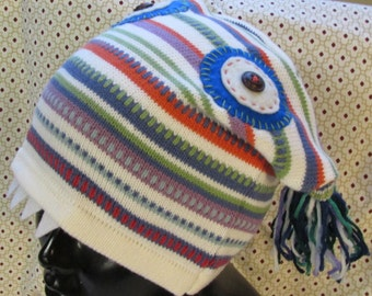 Monster Hat upcycled sweater blue eyes fangs tassels eco friendly funky fun warm