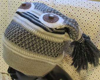 Monster Hat upcycled sweater wide grey stripes red eye fangs tassels eco friendly funky fun warm