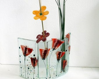 Curved vase Divided to three vases , Fused glass Red Poppy .