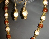 CLEARANCE SALE!   75% OFF Gilded Marble Necklace and Earring Set