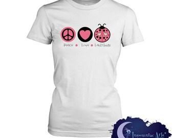 Peace Love & Ladybugs Ladies T-Shirt