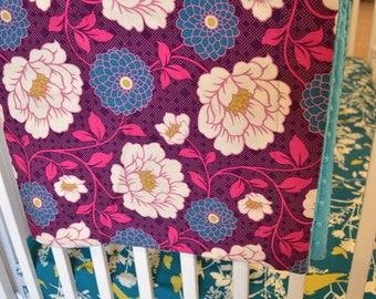Baby Bedding - Garden Florals Custom Crib Bedding - Birds, Art Deco, Purple, Teal, Turquoise, Pink, Green