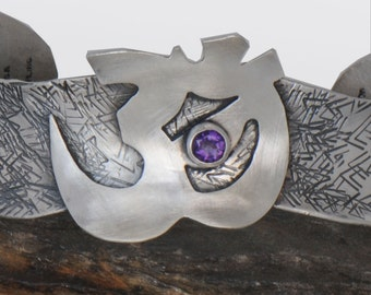 Om Bracelet, Amethyst Sterling Silver Cuff Bracelet, Yoga Bracelet