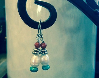 Turquoise Coral and Freshwater Pearl Earrings