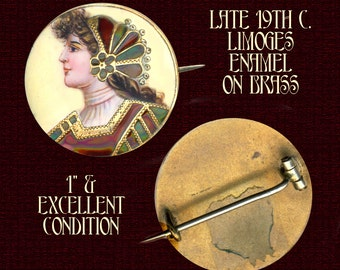 Brooch ~ Very Fine Late 19th C. Limoges Enamel Pre-Raphaelite Lady with Gold Trim
