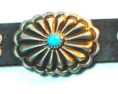 "Sterling silver & turquoise three concho leather bracelet, fits 7"" to 8 1/2"".  ."