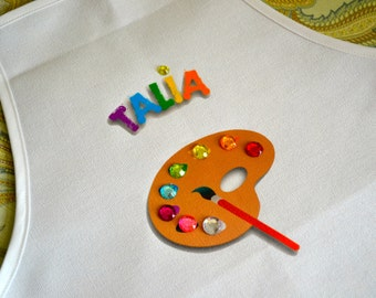 Reserved for Lina Standard Art Party Painting Pottery Birthday Party Personalized White Tie Up Apron Palette adorned with colorful Gems