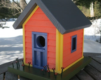 Birdhouse, Donette's Cottage with Cool Lava Siding, Red Flowers