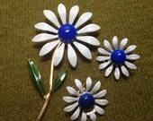 Daisy Pin And Earring Set White & Blue Clip Style, Brooch