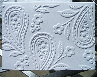Embossed Mini Notecards - Floral Paisley - (Set of 12)