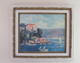 Ornate Frame, Gold Gilt Frame, Shabby Chic Frame, Solid Wood Painted Frame with Seascape Painting on Canvas 30 x 34