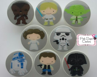 STAR WARS KNOBS gray version #3 Kids Nursery Handmade Drawer Pull Kids Room Decor boys girls