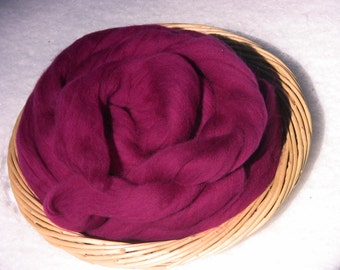 """Raspberry""""  Merino Wool Roving  4 ounces-------- ( 3 available)"""