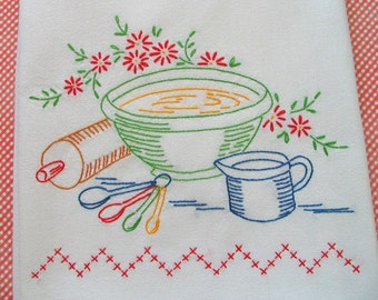 Hand Embroidered Dishtowel - Bake Day