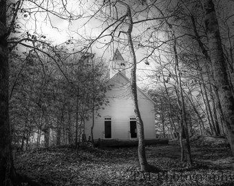Cades Cove Church - Cades Cove - Smoky Mountains - The Great Smoky Mountains - National Park - Old Methodist Church - Fine Art Photography