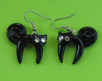 Black Cat Halloween Dangle Earrings - Swarovski Crystal Eyes - Jewelry for Woman