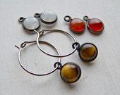 pure titanium or niobium hoop earrings gemstone dangle drops handmade by variya