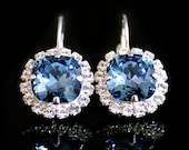 Sapphire Blue Swarovski Crystals With Clear Halo Crystals on Silver Leverback Earrings/Halo Crystal Earrings